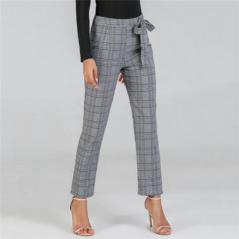Knot Plaid straight Pants
