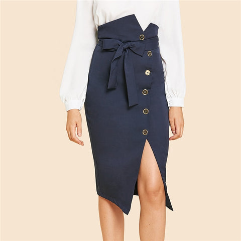 Pencil Buttons Skirt
