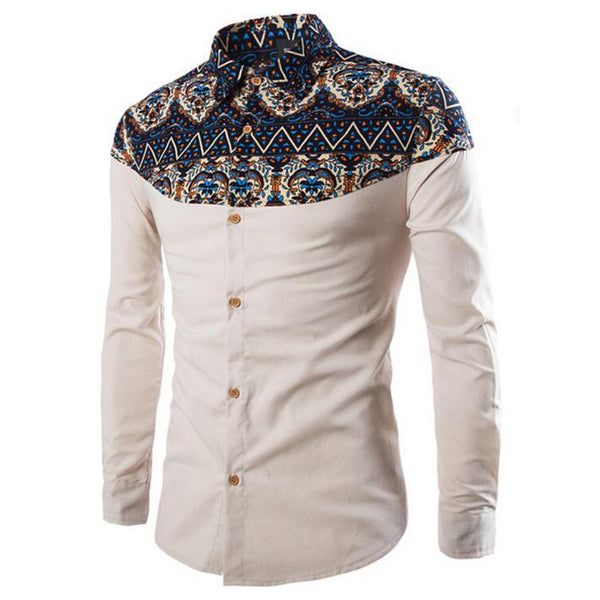 Ethnic print buttoned shirt