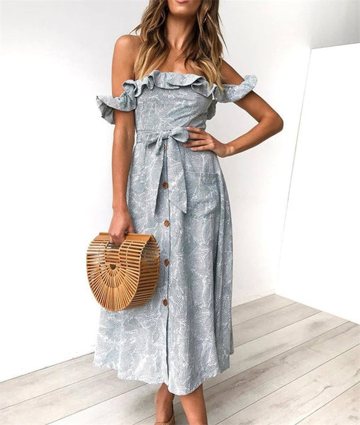 Ruffles Off Shoulder Beach Dress