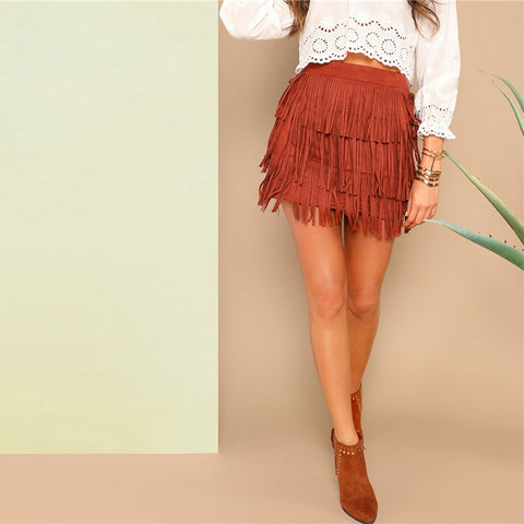 Rust Fringe Mini Skirt
