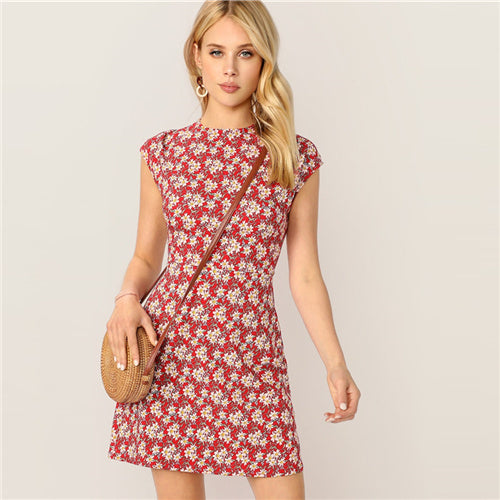 Red Stand flowers Dress