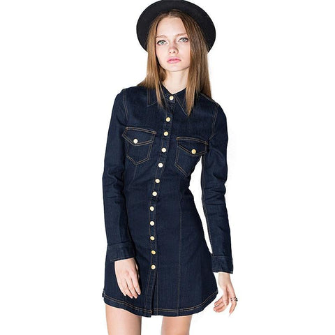 ButtonGirl Denim Mini Dress