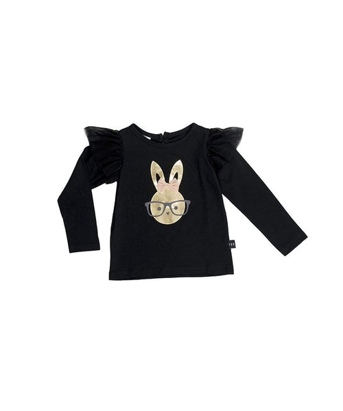 Huxbaby Long Sleeve Frill Top | Bunny | Black-BubandBoo