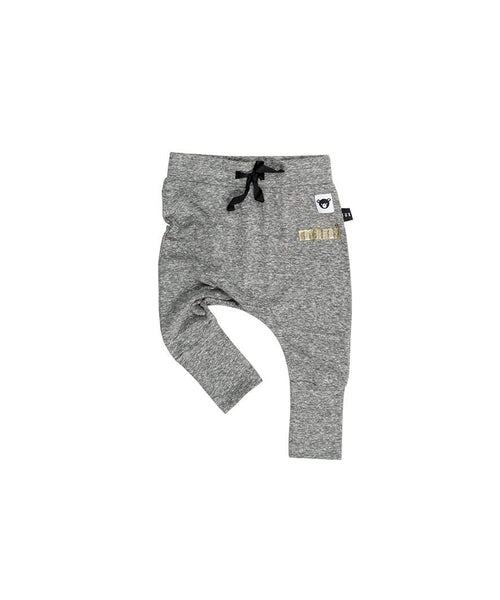 Huxbaby Drop Crotch Pant | High Cuff | Charcoal Slub-BubandBoo