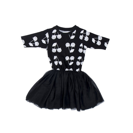 Huxbaby Long Sleeve Frill Top | Cherry Cat | Black