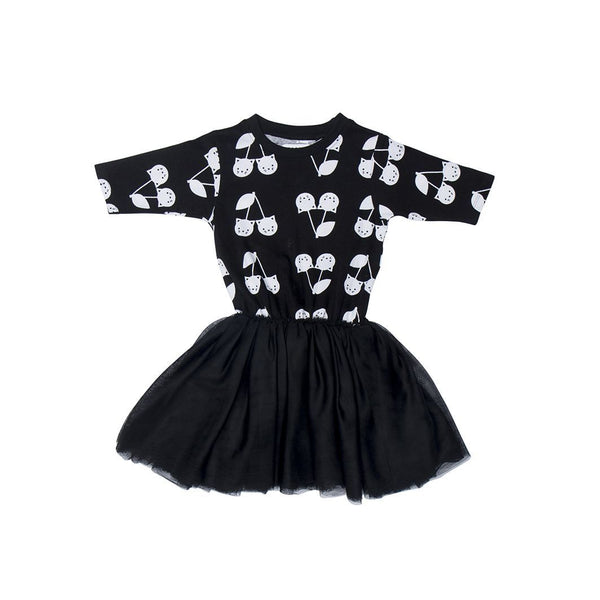 Huxbaby black cherry cat ballet dress