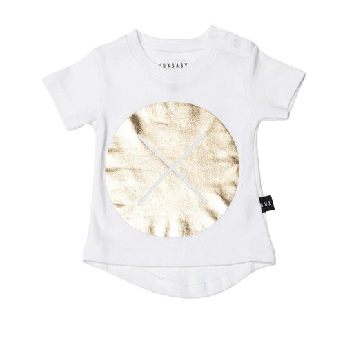 Huxbaby gold circle cross drop back t-shirt