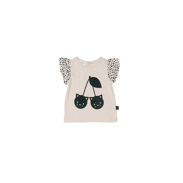 Huxbaby cherry cat frill top