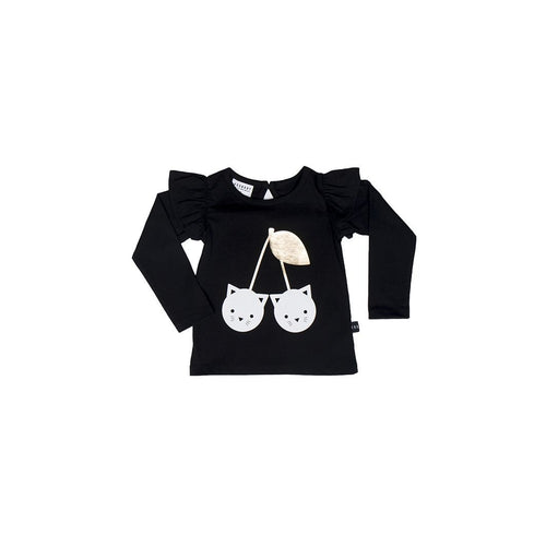 Huxbaby black cherry cat long sleeve frill top