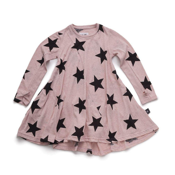 NUNUNU powder pink 360 dress with star print