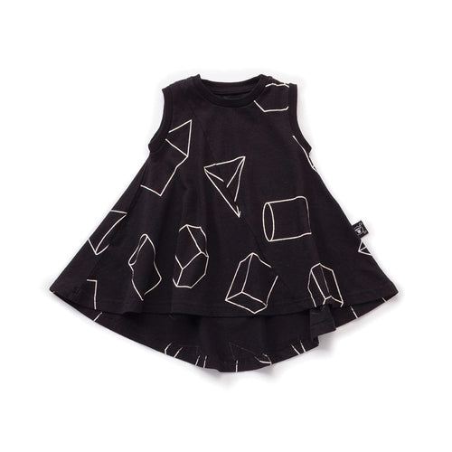 NUNUNU black geometric 360 tank dress