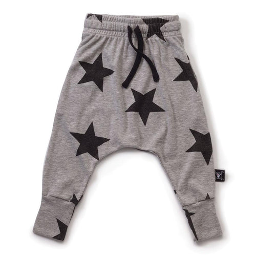 NUNUNU heather grey star baggy pants