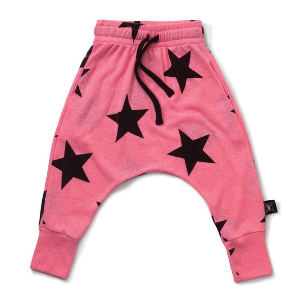 NUNUNU neon pink star baggy pants
