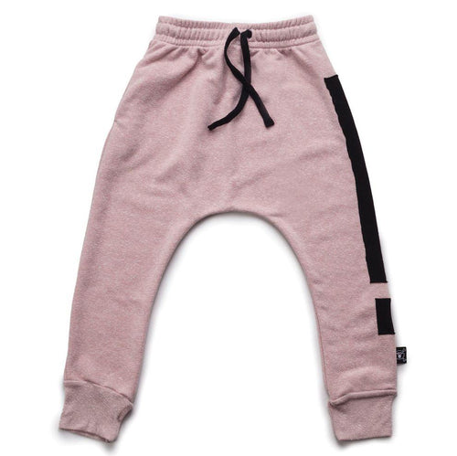 NUNUNU powder pink baggy pants with exclamation print