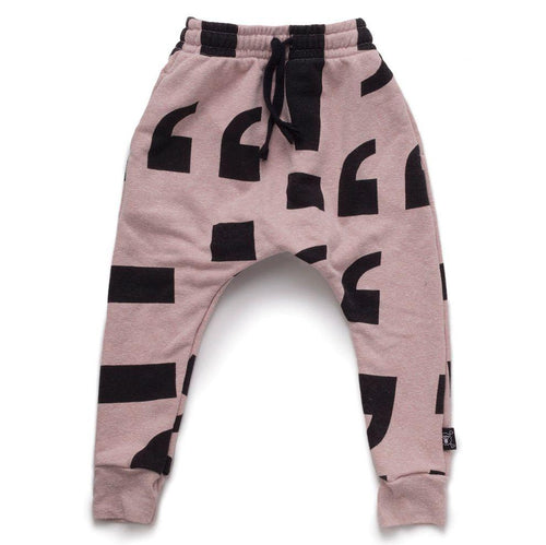 NUNUNU powder pink baggy pants with punctuation print