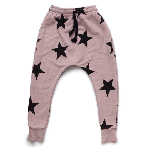 NUNUNU powder pink baggy pants with star print