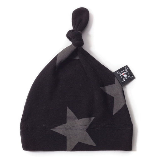 NUNUNU black beanie with star print