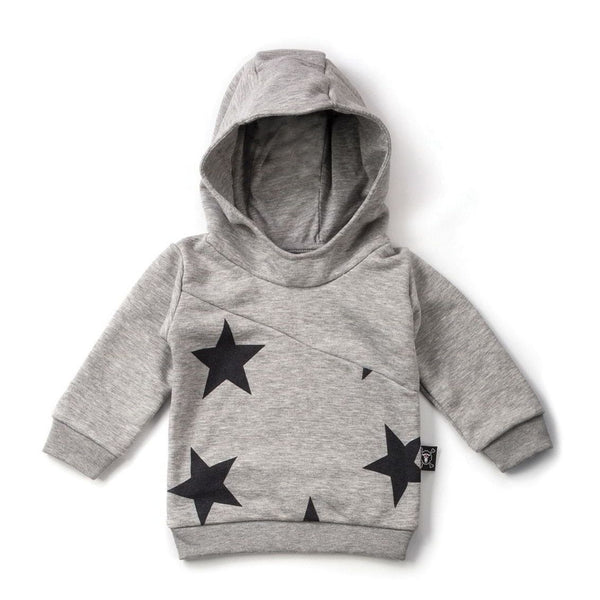 NUNUNU heather grey diagonal hoodie