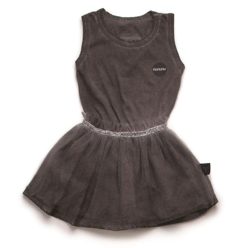 NUNUNU Dyed Grey Tulle Onesie Skirt