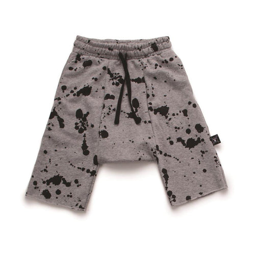 NUNUNU heather grey splash harem shorts