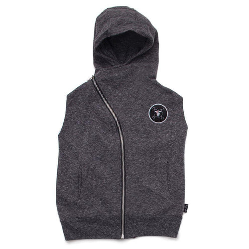 NUNUNU charcoal hooded vest