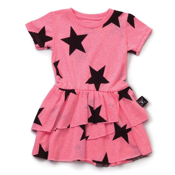 NUNUNU neon pink star layered dress