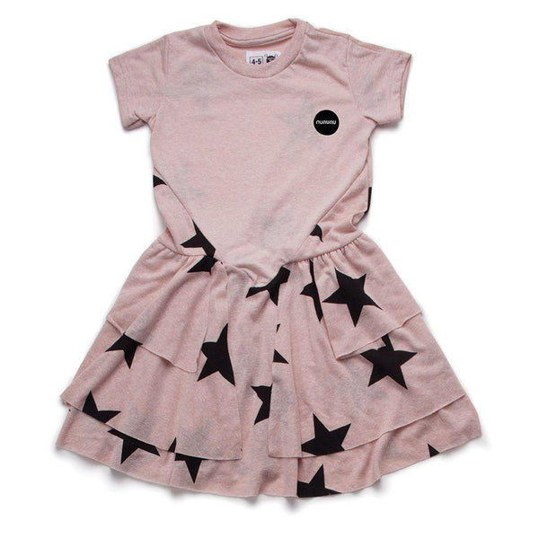 NUNUNU Powder Pink Star Layered Dress