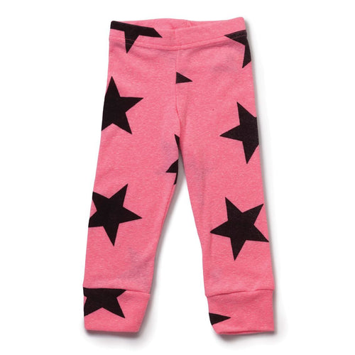 NUNUNU neon pink star leggings