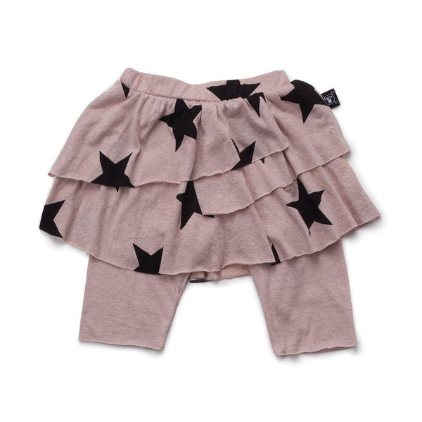 NUNUNU powder pink star leggings skirt