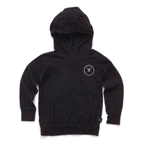 NUNUNU dyed black light hooded shirt