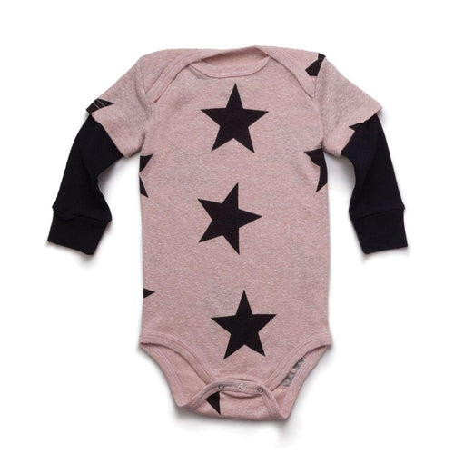 NUNUNU powder pink star onesie