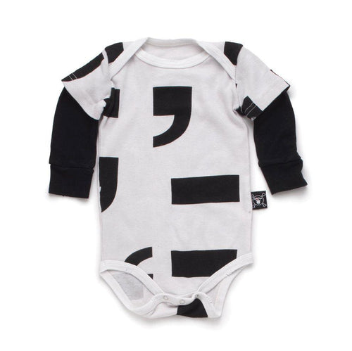 NUNUNU white punctuation onesie