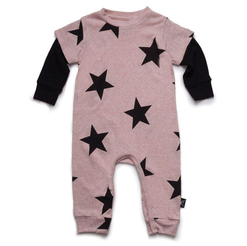 NUNUNU powder pink star print playsuit