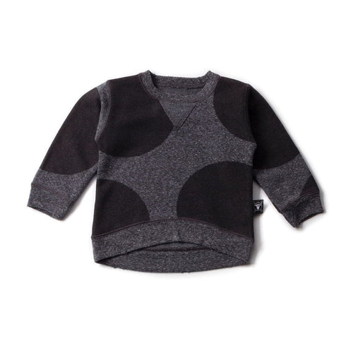 NUNUNU charcoal circle patch pullover