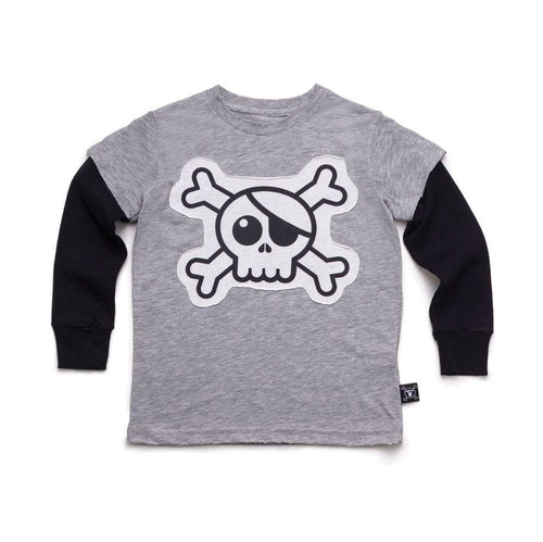 NUNUNU heather grey skull patch t-shirt