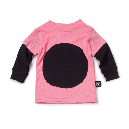 NUNUNU neon pink circle patch t-shirt