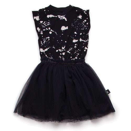NUNUNU black splash tulle dress
