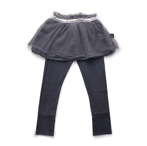 NUNUNU dyed grey tulle leggings skirt