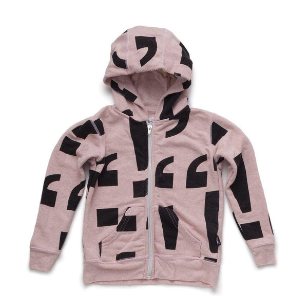 NUNUNU powder pink punctuation zip hoodie