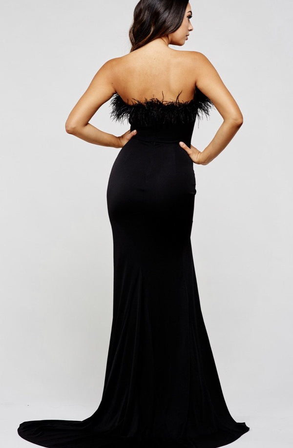 Black Feather Gown - SLAYVE to style (4395921506351)