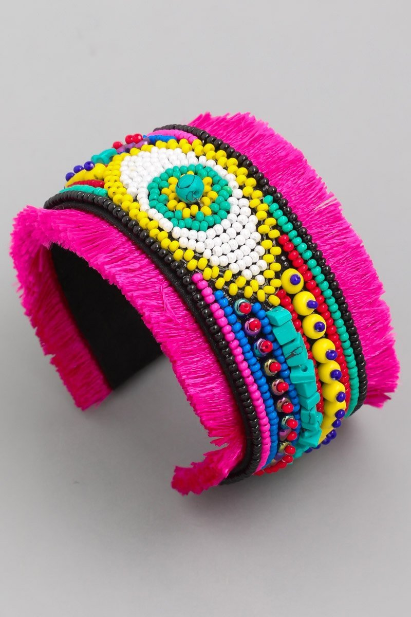 Evil Eye Cuff - PINK - SLAYVE to style (3876305076247)