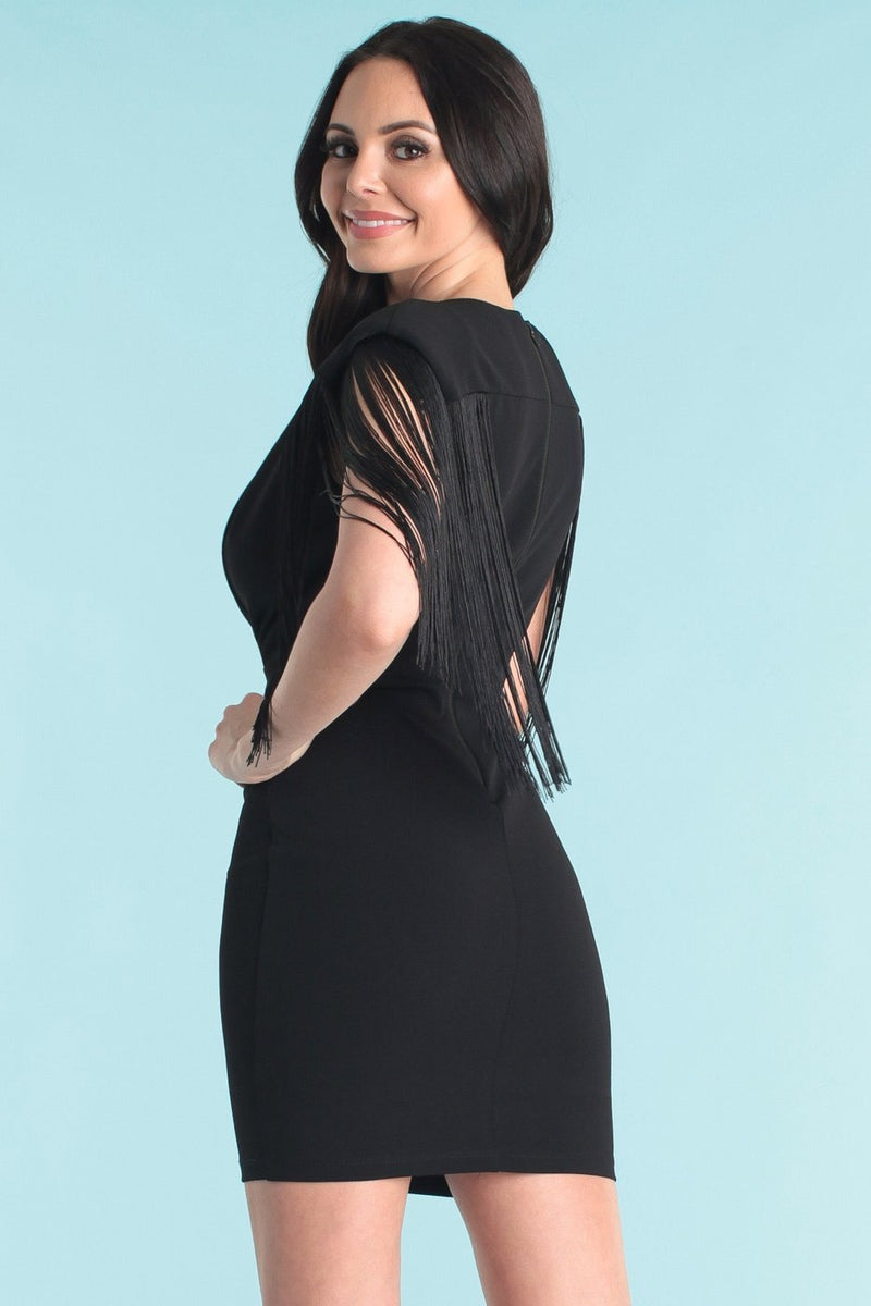 Florence Fringe Dress - Black - SLAYVE to style (3927393828887)