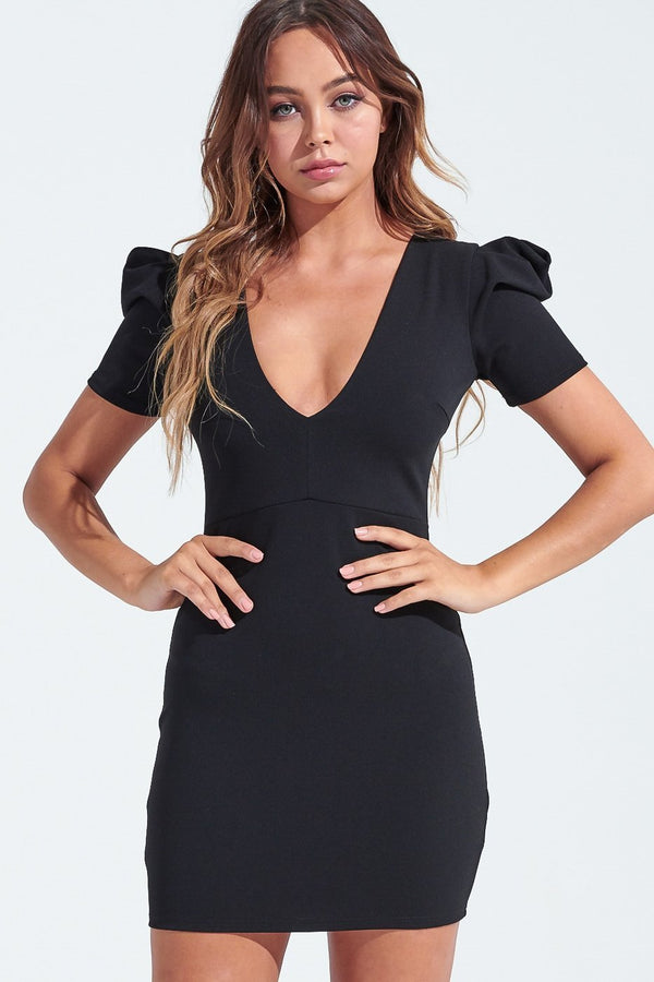 Puff Sleeve Mini - BLACK - SLAYVE to style (3825812111383)