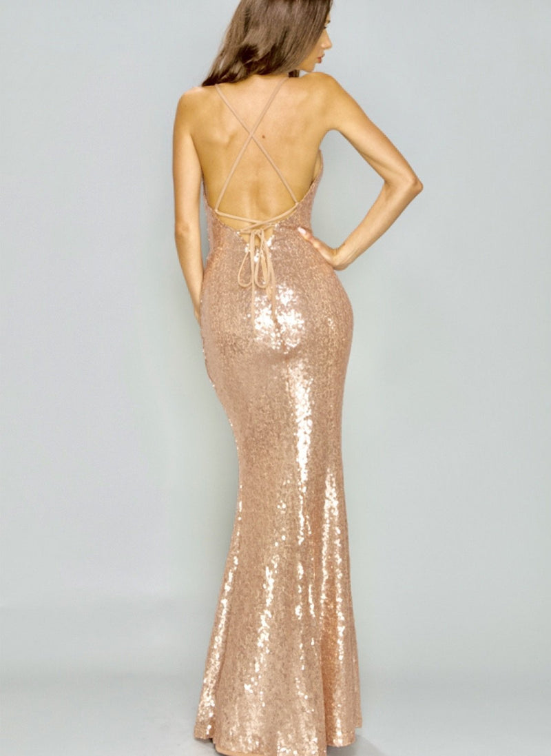 Rose gold gown - SLAYVE to style (1517433389079)