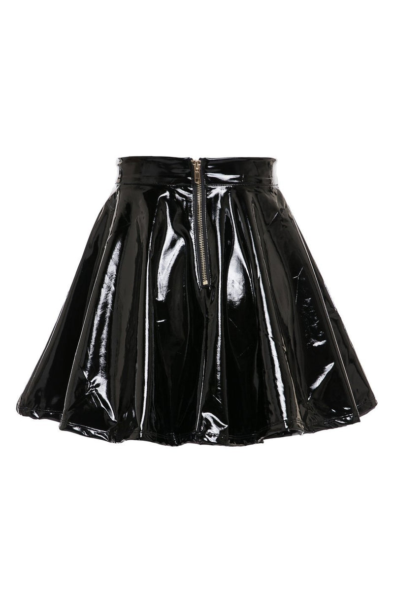 Shiny Skater Skirt - SLAYVE to style (4406323478575)