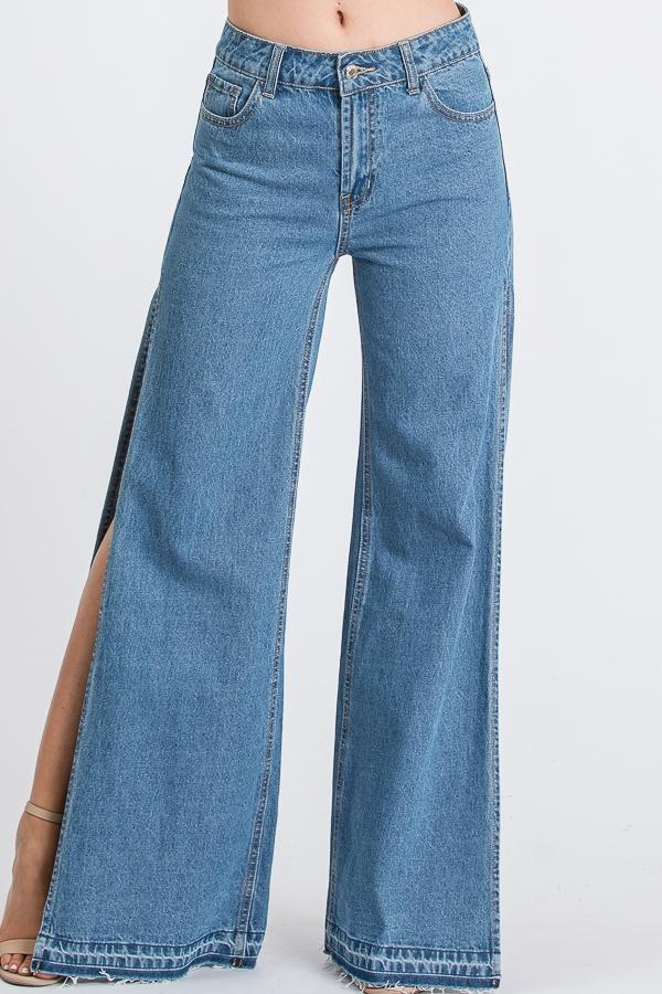 Side Slit Jeans - SLAYVE to style (4445412294703)