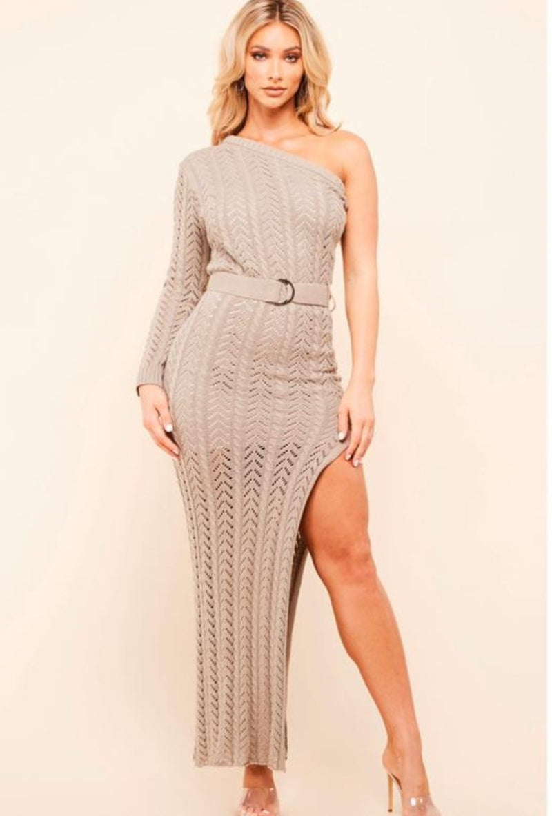 Taupe Knit Bodycon - SLAYVE to style (4420332519471)