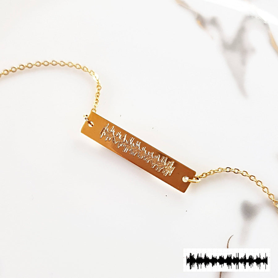 Real Sonogram Heartbeat Bar Necklace - TSH Jewelry