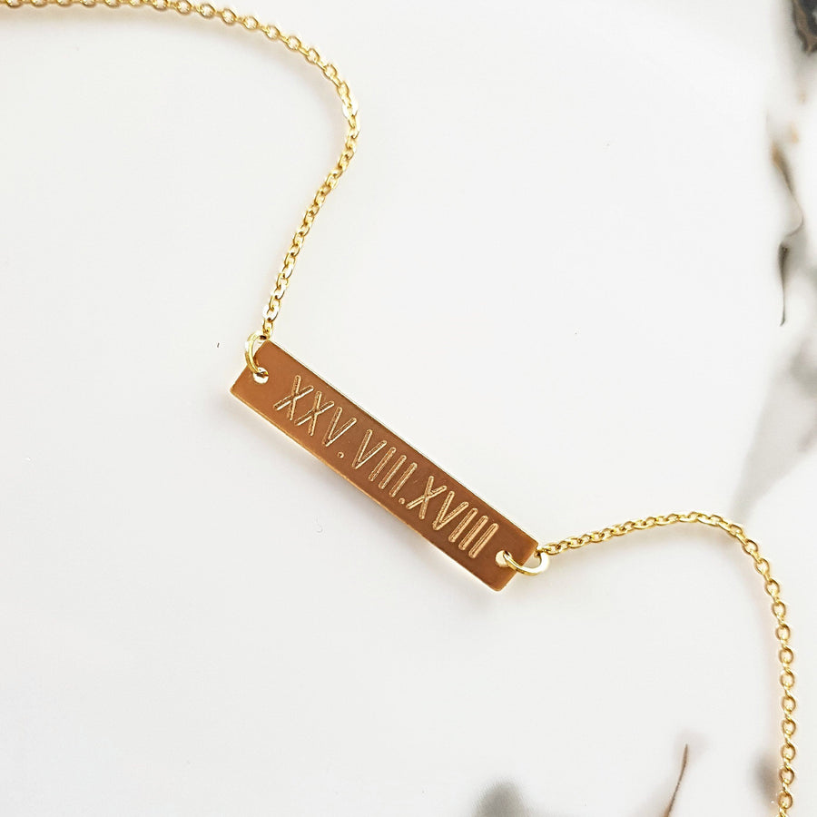 Custom Roman Numeral Bar NecklaceTSH Jewelry